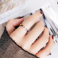 日简约钛钢镀玫瑰金情侣款戒指男女款食指环尾戒子流行配饰品