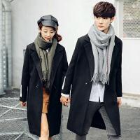 新款秋冬装毛呢大衣韩版宽松男女中长款休闲青年潮流情侣风衣外套