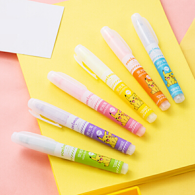 得力33376皮卡丘系列荧光笔涂改笔标注标记彩色笔涂鸦笔 6色/套
