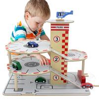 四层立体木制停车场轨道套装 过家家汽车仿真拆装模型组合