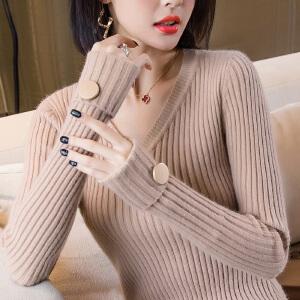 【下单立减120元  仅限今日】V领毛衣女2018秋冬新款韩版修身中长款针织衫套头上衣长袖打底衫