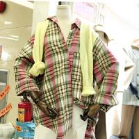 韩版港味宽松显瘦简约休闲男友风长袖单排扣格子拼色衬衫H