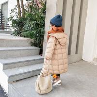 儿童羽绒服加厚秋冬新款宝宝棉衣韩版女童轻薄洋气中长款连帽外套