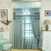 欧式窗帘蓝色儿童房客厅卧室主卧落地窗飘窗平面窗半遮光打孔纱帘