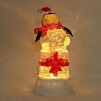 水晶企鹅礼物 LED发光飘雪摆件定制*女友469 13.5*13.5*26