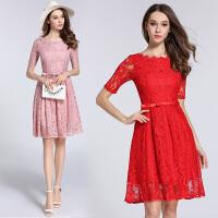 夏装新款一字领蕾丝连衣裙修身显瘦收腰小礼服蕾丝裙A字裙
