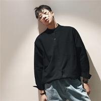 港风日系宽松韩版潮流立领青少年色休闲长袖衬衣男