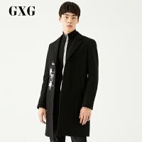 GXG大衣男装 冬季男士青年时尚韩版图案设计黑色长款大衣