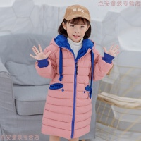 女童棉衣2018新款韩版中长款洋气中大童冬季加厚轻薄儿童羽绒 粉红色 120cm(120cm无帽绳)