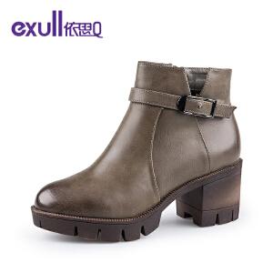 依思q冬季新款圆头粗跟高跟短靴时尚皮带扣潮靴女靴