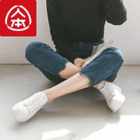 人本帆布鞋女2018春新款百搭板鞋 学生chic韩版厚底休闲小白鞋女