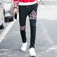 春季新款男士印花卫裤时尚韩版束脚瘦腿卫裤潮流男士卫裤型男