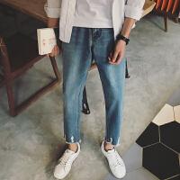 男士牛仔裤春装新款韩版磨破毛边九分裤青少年学生宽松哈伦裤