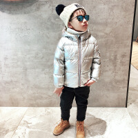 女童装男童太空银羽绒服儿童冬装2018新款反季外套宝宝白鸭绒90绒 银色