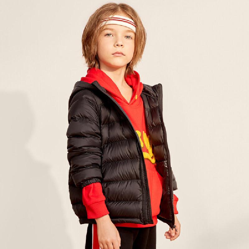 【2件3折:99】巴拉巴拉旗下巴帝巴帝童装2019冬新款男童女童时尚儿童连帽轻薄羽绒服