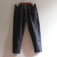 男士牛仔裤丹宁九分裤中腰小直筒蓝黑色修身裤子