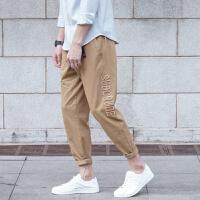 工装裤男宽松多口袋日系潮牌纯棉直筒刺绣九分裤青年学生休闲裤