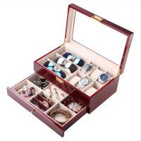 眼镜收纳盒多格大容量双层旅行墨镜太阳眼镜盒8格12格眼镜展示盒时尚皮革皮质大墨镜盒摆放盒