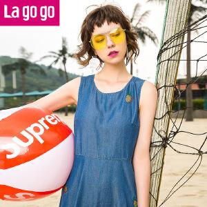 Lagogo2017年夏季新款中长款裙子刺绣圆领无袖高腰显瘦连衣裙女