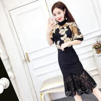 2018新款女装名媛气质花朵上衣+小背心+蕾丝拼接鱼尾裙时尚套装