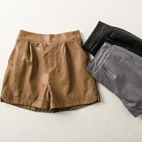 秋冬装新款高腰阔腿显瘦气质宽松休闲PU裤