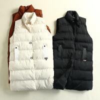 冬装新款女装韩版立领保暖宽松中长款棉衣马甲外套KY