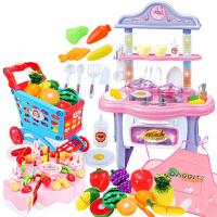 北美�和��^家家迷你�N房套�b仿真�N具餐具做�煮��N房玩具男女孩 出水�光大�+水果�物���裙