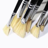 莫奈(MOENT)15618猪鬃鱼尾扇形画笔猪毛黑色杆水彩水粉油画扇形笔