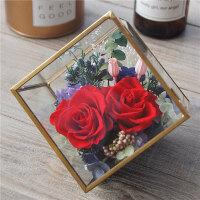 永生花礼盒玻璃花房摆件进口康乃馨保鲜玫瑰520生日情人节礼物礼品