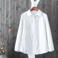 白衬衫女长袖2017冬装新款宽松百搭修身加绒保暖纯棉打底衬衣8956