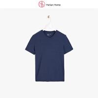 夏季V领纯色短袖T恤男基础款 Heilan Home/海澜优选生活馆