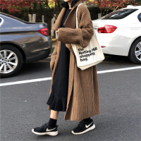 秋冬韩版女装宽松加厚毛衣外套开衫百搭中长款显瘦复古针织衫上衣