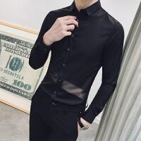 新品18春节新款男士韩版修身青年长袖衬衫潮流青年发型师蕾丝拼接