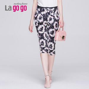 Lagogo夏季新款修身印花裤子七分裤女雪纺哈伦裤显瘦薄款休闲裤