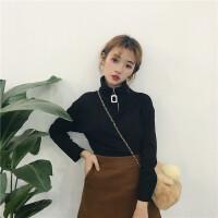 酷酷的女装韩版个性帅气高领方形拉链磨毛长袖T恤原宿上衣打底衫