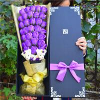 女生闺蜜友情送女友七夕情人节生日礼物肥香皂花玫瑰花束礼盒 33朵2熊黑四角盒 紫