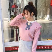秋装女装韩版学院风甜美蕾丝拼接针织衫立领木耳边蝴蝶结套头毛衣