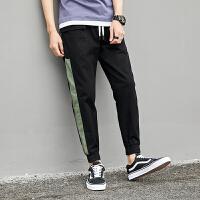 青少年裤子九分夏季舒适宽松拼色工装男裤夏日透气棉布精品学生装