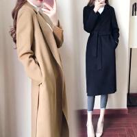 安妮纯流行毛呢外套女中长款森系大衣2018秋冬季新款韩版赫本风修身妮子