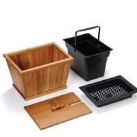 茶水桶茶渣桶竹制茶桶茶盘排水桶功夫茶具蓄水桶配件
