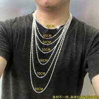 999足银项链 男女 锁骨链 银链子 加长款 裸链毛衣链