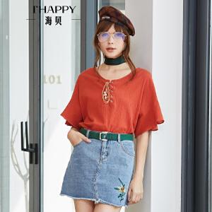 海贝2018夏季新款女装上衣 圆领绑带喇叭袖短袖休闲纯棉小衫衬衫