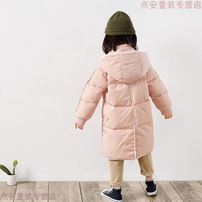 儿童羽绒服男童女童中长款加厚小童大童日系羽绒服连帽可脱卸冬装 粉红色 包边 发货周期:一般在付款后2-90天左右发货,具体发货时间请以与客服协商的时间为准