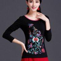 春装 民族风女装 绣花修身长袖T恤刺绣女士纯棉上衣中国风打底衫