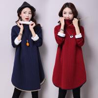 加厚保暖裙子冬季新款韩版中长款加厚打底裙修身羊羔毛连衣裙