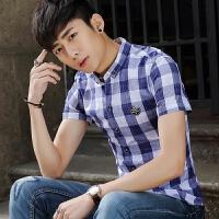 短袖衬衫男修身韩版潮流帅气青少年休闲百搭学生夏季衬衣