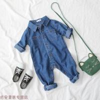 冬季婴儿衣服秋装宝宝牛仔连体衣潮服婴幼儿套装男0一1岁韩版女童哈衣秋冬新款 蓝色