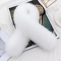 狐狸毛围巾女季百搭围脖真毛整只皮草长款夹子纯色大毛领子