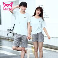 猫人韩版外穿男女士清新情侣睡衣纯棉短袖短裤可外穿家居服套装