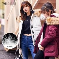 【满300减30】拉夏贝尔羽绒服女新款时尚小个子冬季韩版潮宽松短款大毛领白色外套